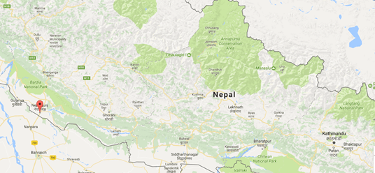 Map of Nepal, Nepalgunj (red pin) sits 516km west of Khatmandu