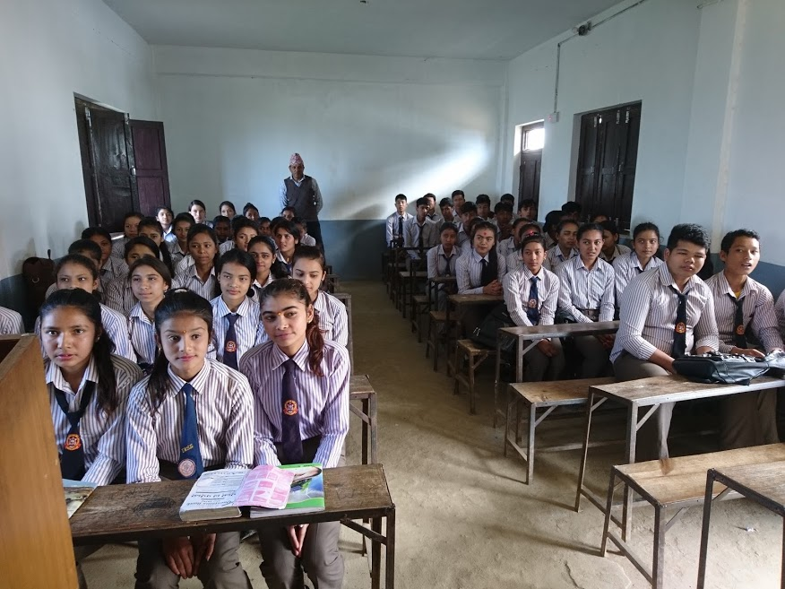 Secondary school students sitting in a classroom
