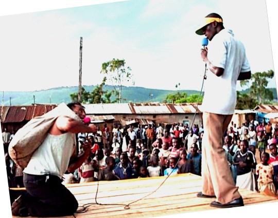 Evangelism in Kiberra, Nairobi, Kenya, Africa's largest slum of one million.