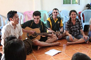 Jonathan and Jemimah & Dante with Zo Min, a teacher in Yangon