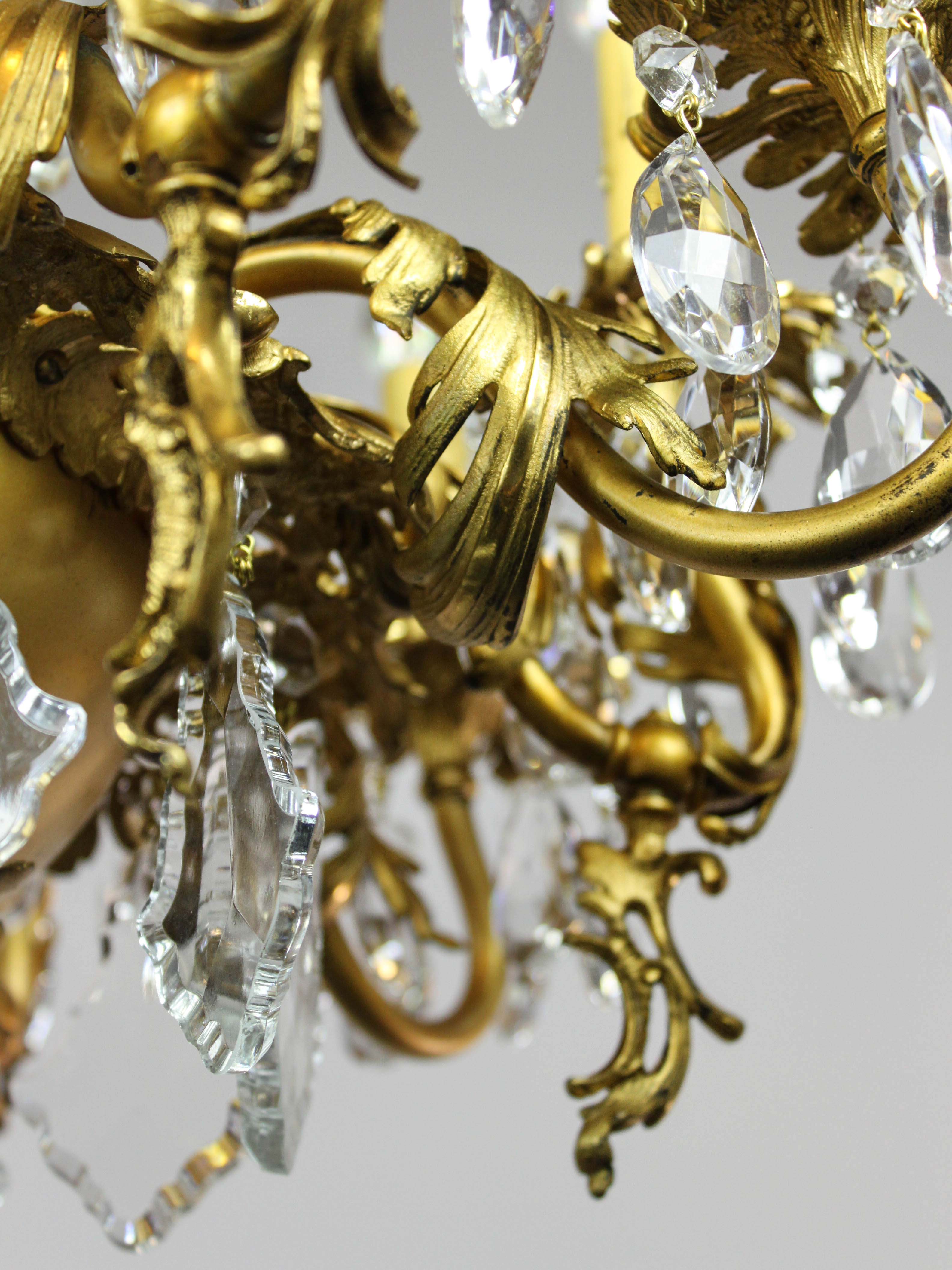 GoldPlated Rococo Converted Gas Chandelier 10Light