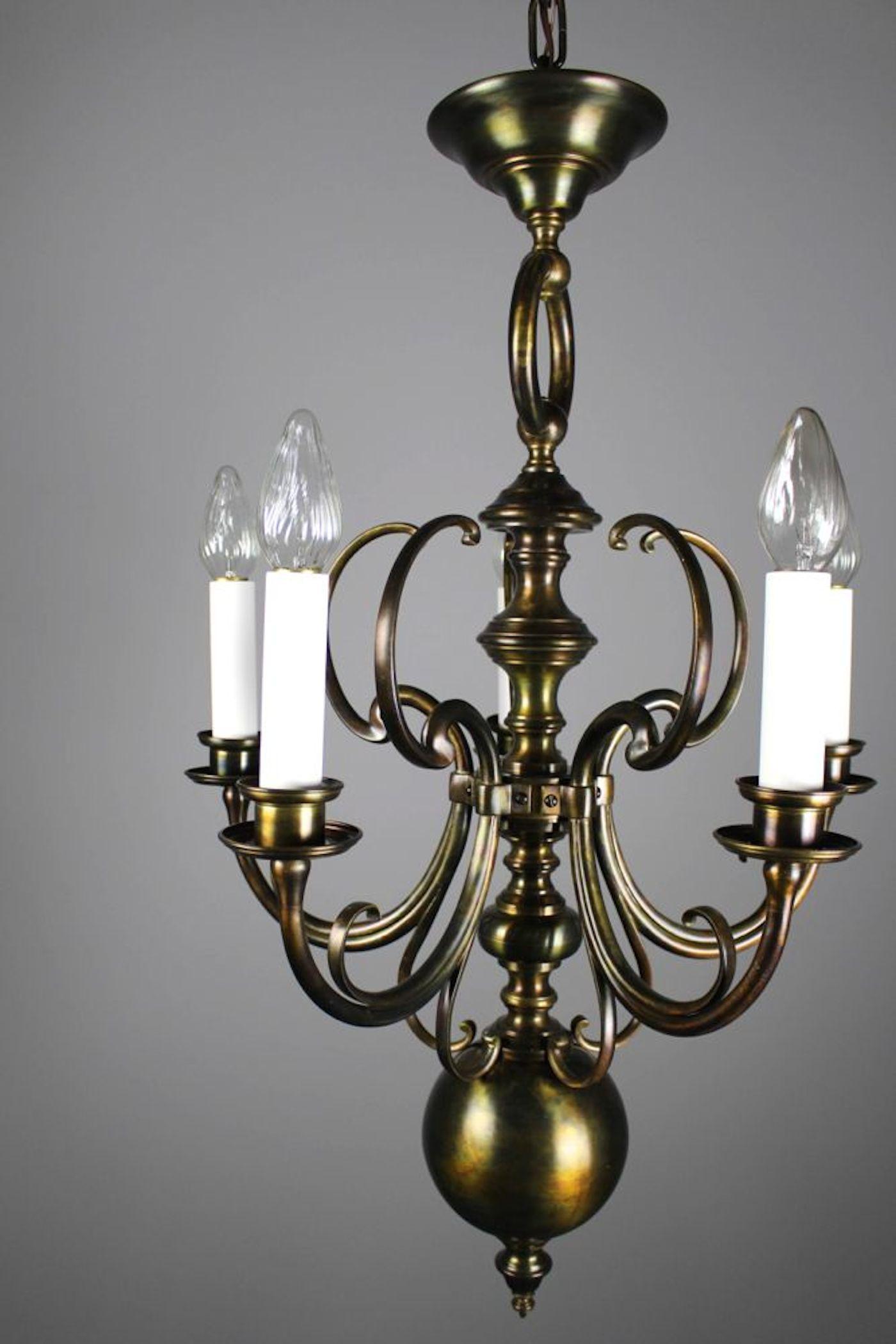 Unusual Art Nouveau Fixture 5 Light