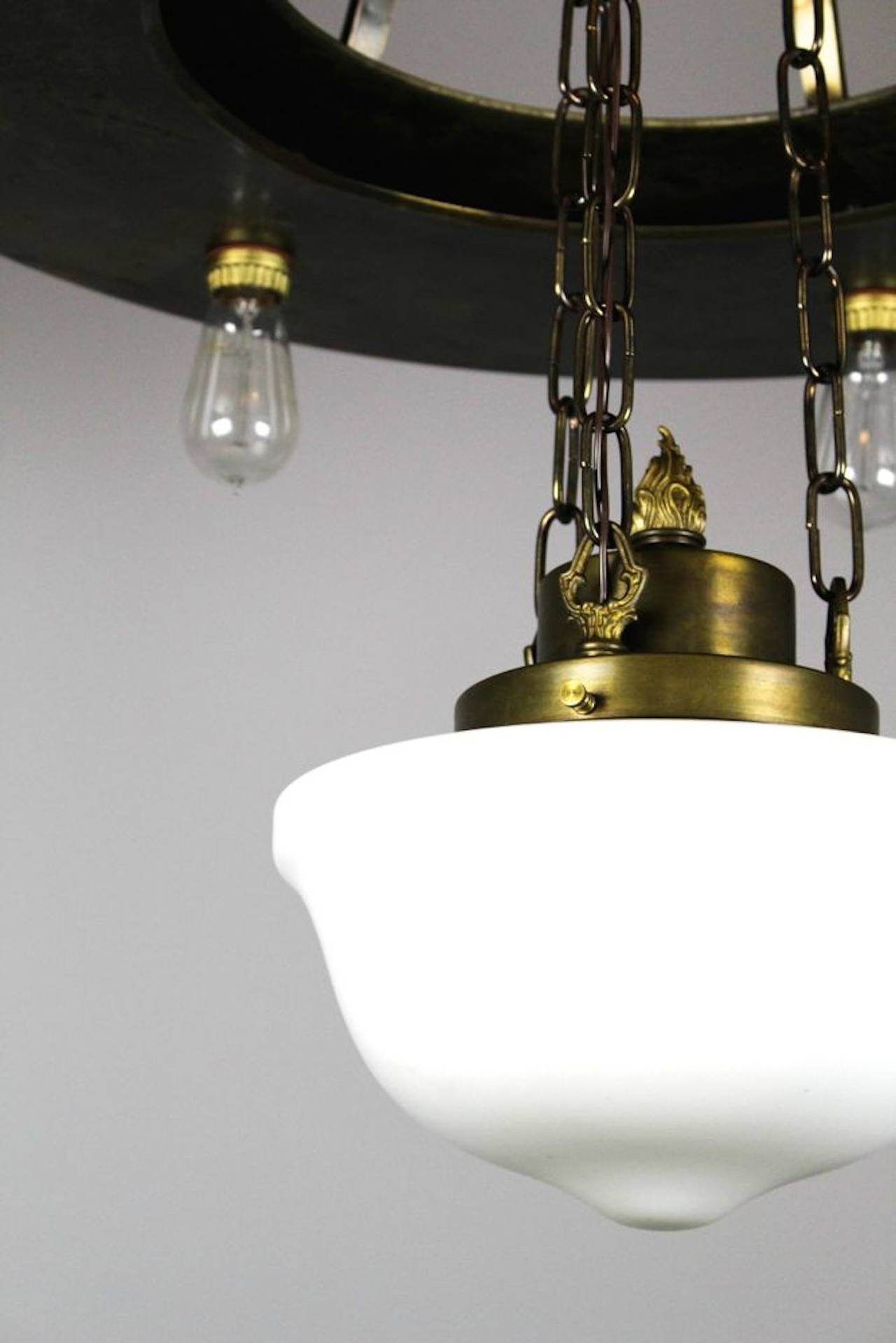 Large Industrial Bare Bulb Seven Light Fixture