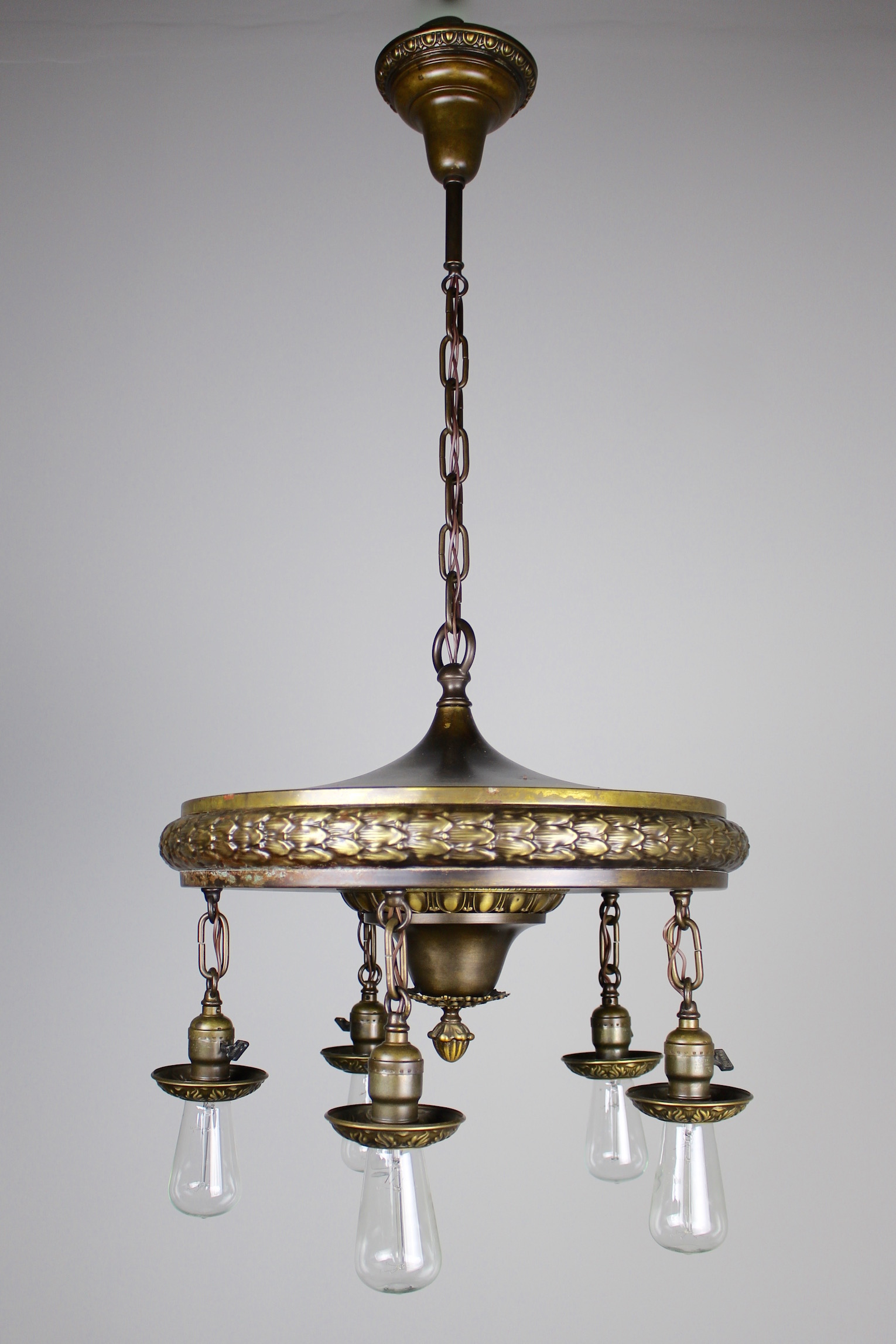 1920s Five Light Neoclassical Revival Dining Room Fixture