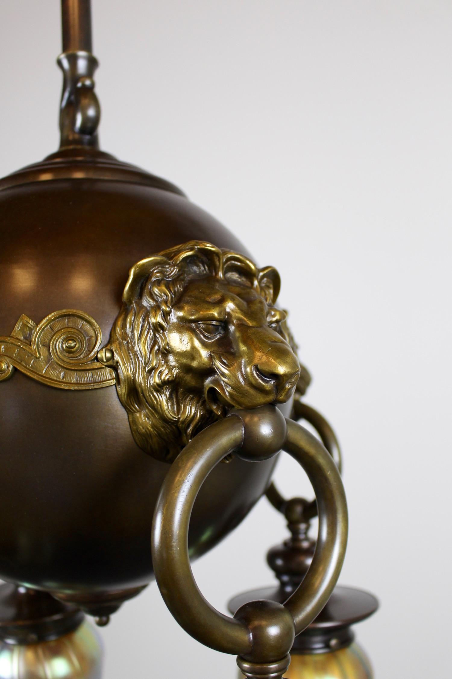 Classic Revival Lion Light Fixture