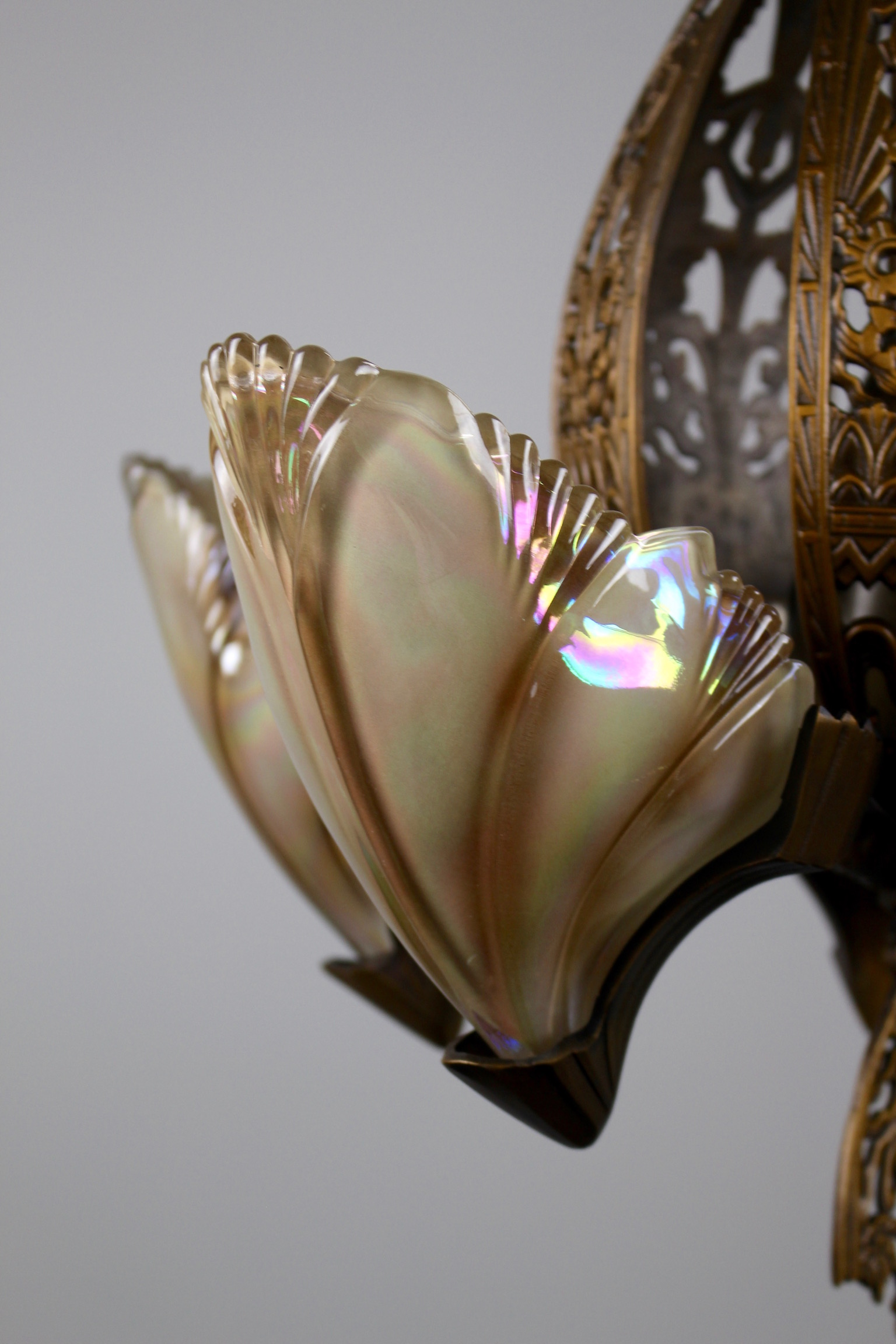 Original Art Deco Fixture With Iridescent Oyster Coloured