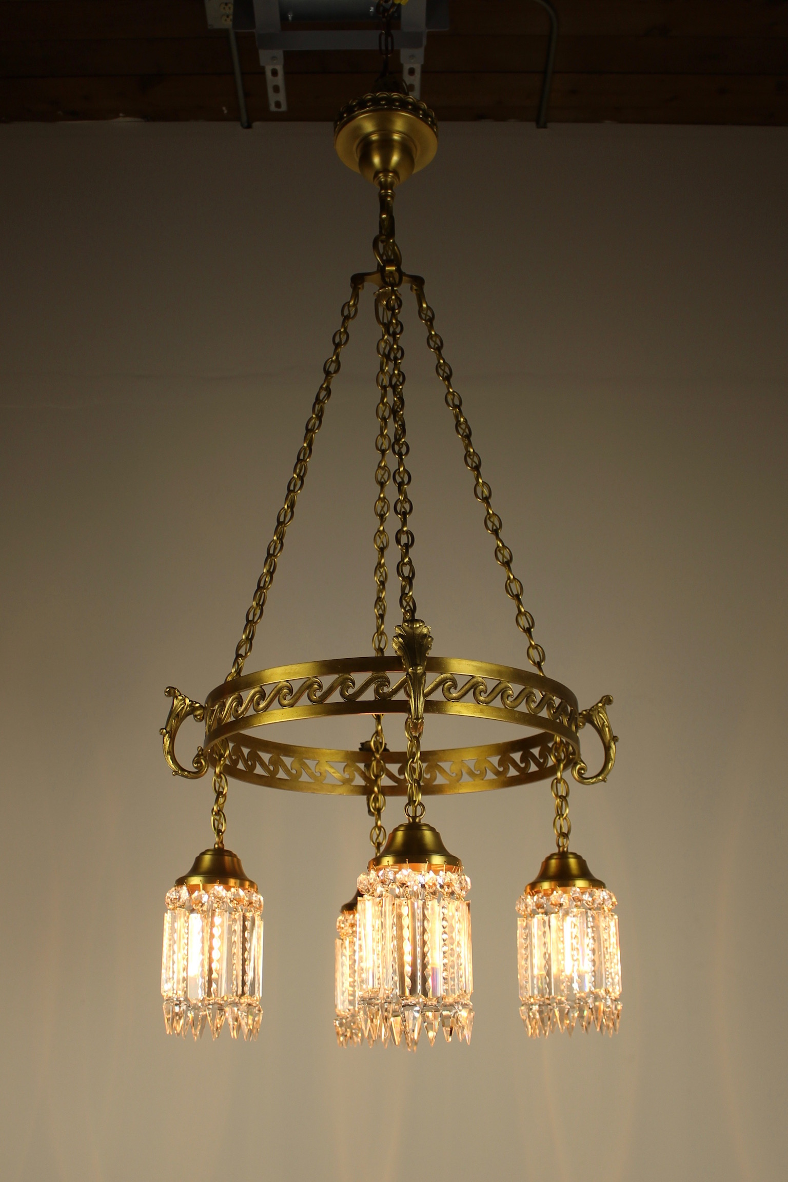 Neoclassical Brass Ring Fixture With Notched Crystal