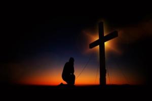 man, cross, prayer, kneeling