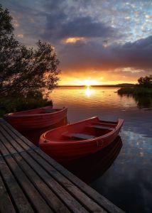 peace, peaceful, boats, water, sunrise, sunset