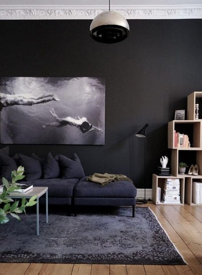 Dark Living Room Design For Home Decor 15