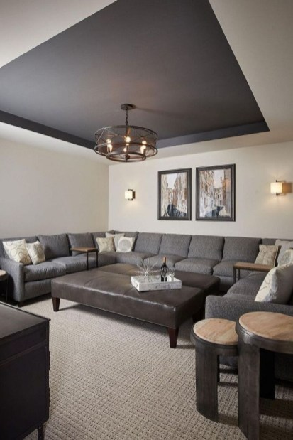 Dark Living Room Design For Home Decor 24