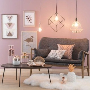 Pink And Gray Modern Living Room Decor 05