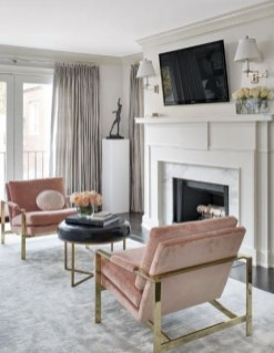 Pink And Gray Modern Living Room Decor 07