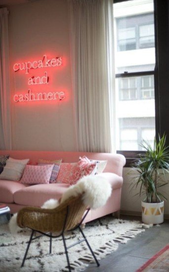Pink And Gray Modern Living Room Decor 11