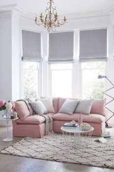 Pink And Gray Modern Living Room Decor 15