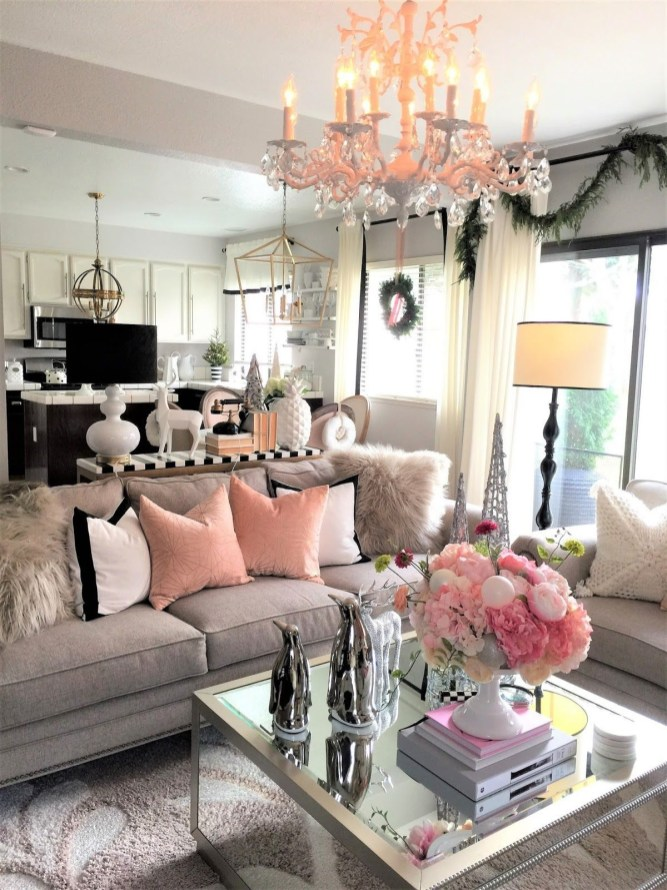 Pink And Gray Modern Living Room Decor 21