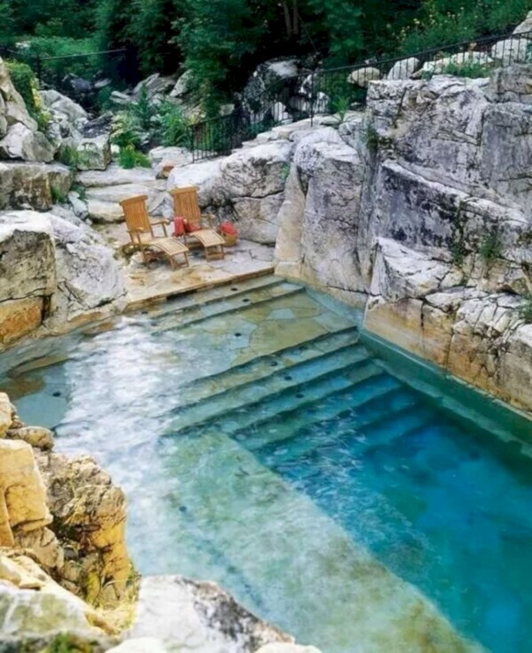 Style Swimming Pool With Natural Stone Tiles 02