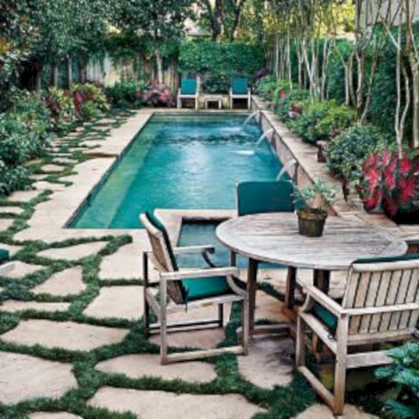 Style Swimming Pool With Natural Stone Tiles 15