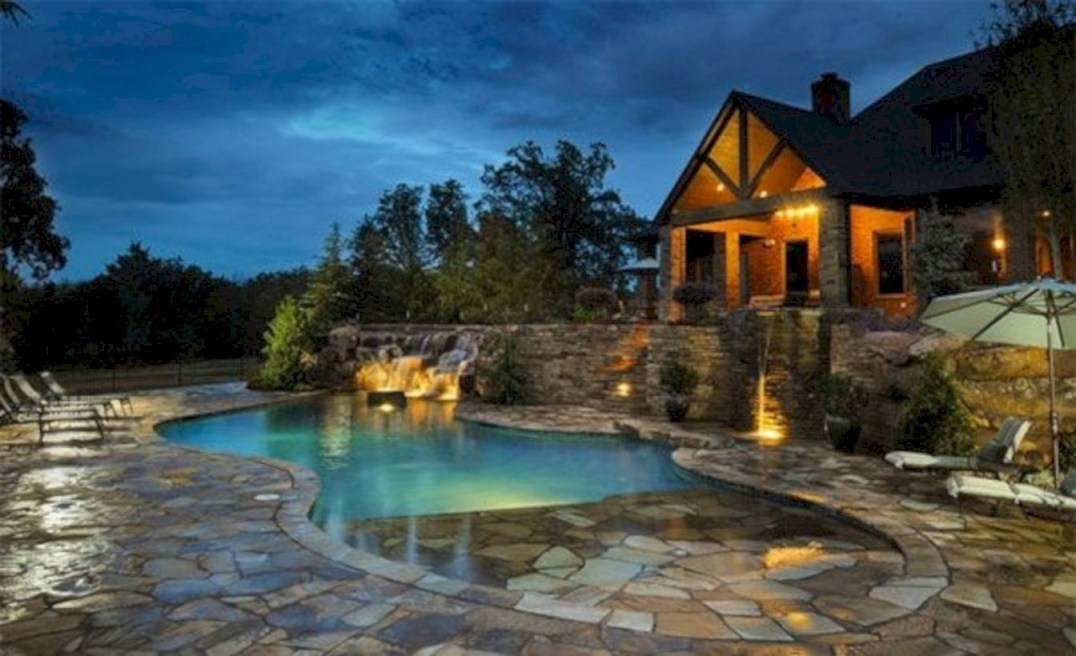 Style Swimming Pool With Natural Stone Tiles 16