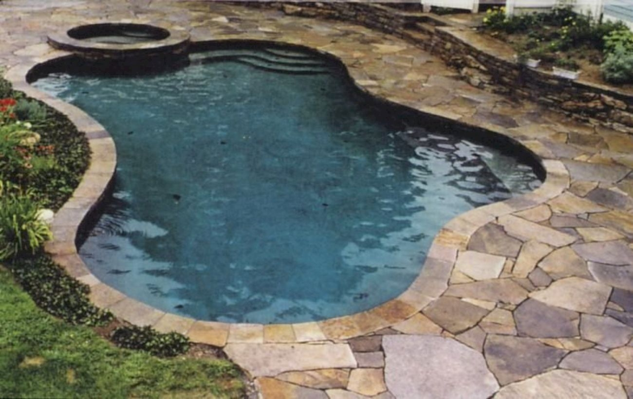 Style Swimming Pool With Natural Stone Tiles 21