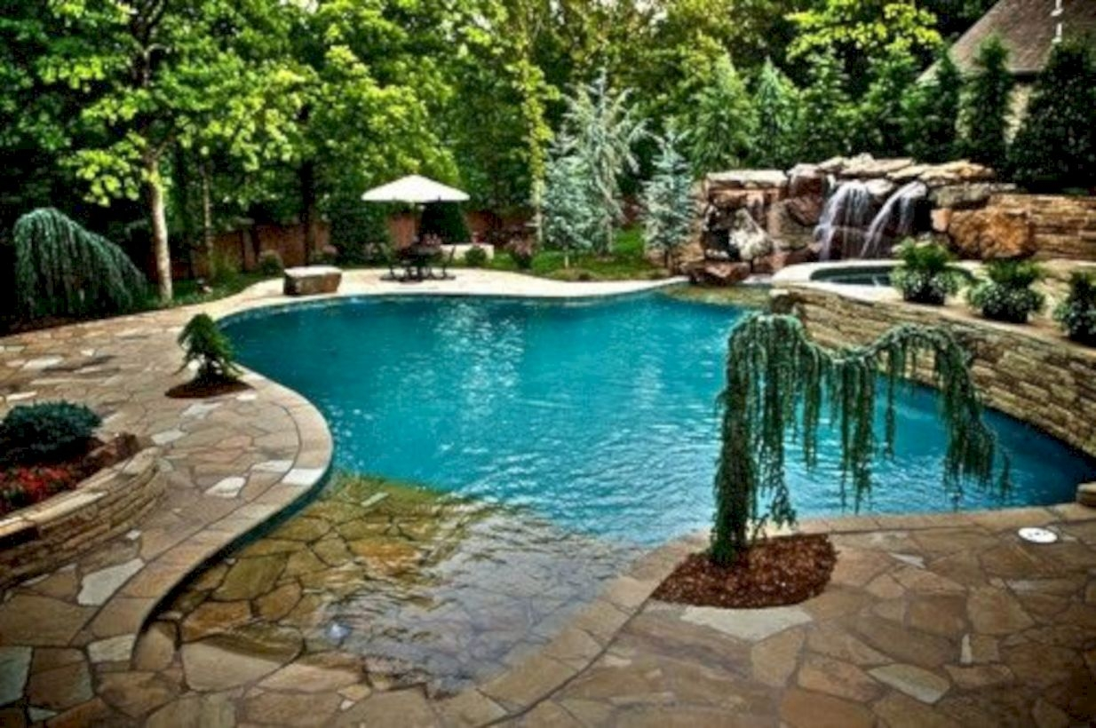 Style Swimming Pool With Natural Stone Tiles 26
