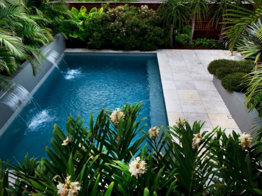 Style Swimming Pool With Natural Stone Tiles 29
