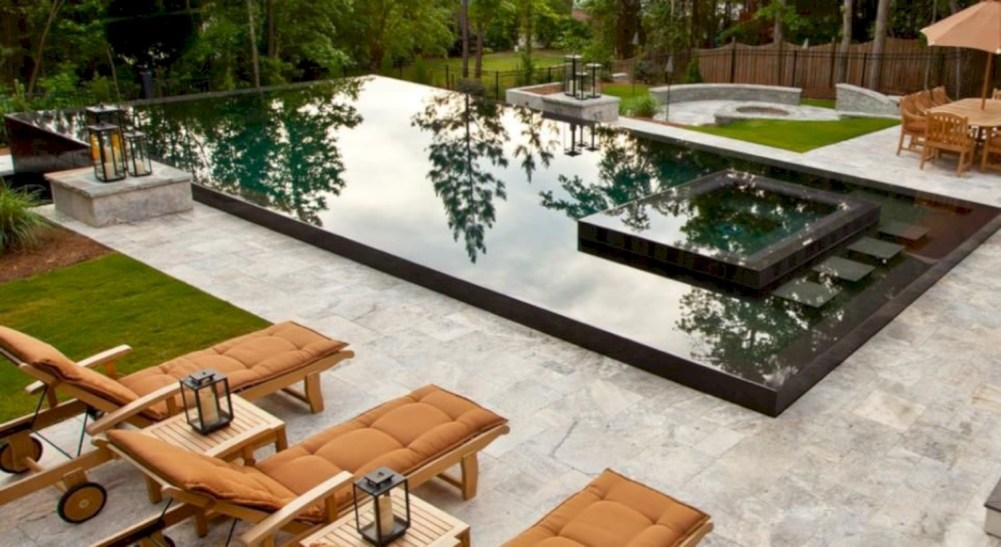 Style Swimming Pool With Natural Stone Tiles 31