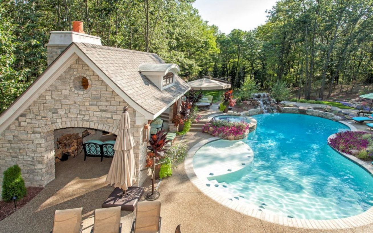 Style Swimming Pool With Natural Stone Tiles 35