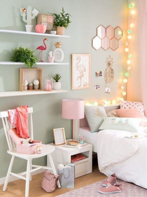 Cozy Teen Bedroom Decoration On Pink Style 05