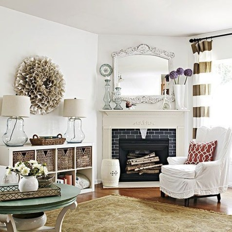 Spring Mantel Decorating Ideas For Fireplace In Living Room 34