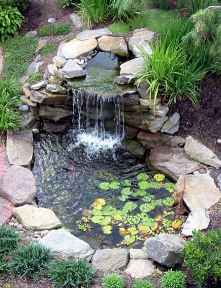Awesome DIY Ponds Ideas With Small Waterfall 36