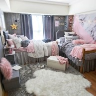 Awesome Dorm Room Decoration With Double Bed 19