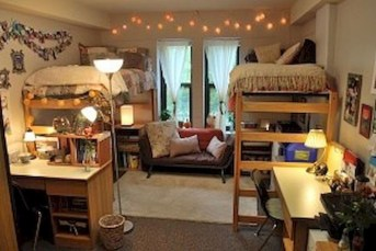 Awesome Dorm Room Decoration With Double Bed 20