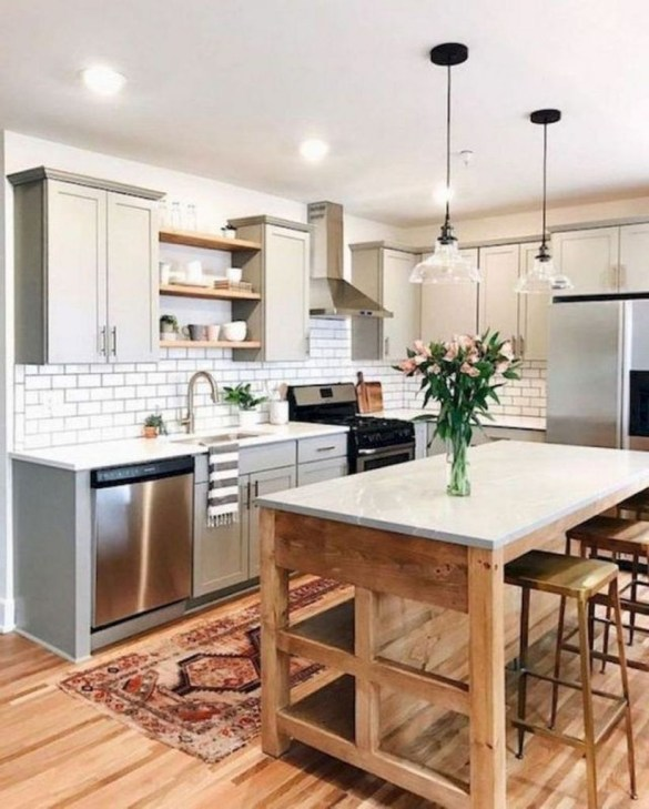 Farmhouse Kitchen Decorating Ideas With Wooden Cabinet 39