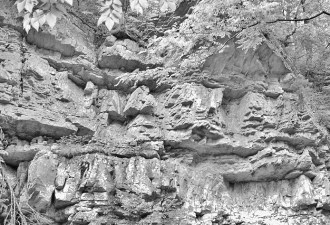 "Steep rock ""faced"" wall along Roaring Run"