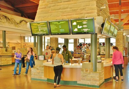 In the Visitor's Center, visitors get information and purchase tickets for various tours.