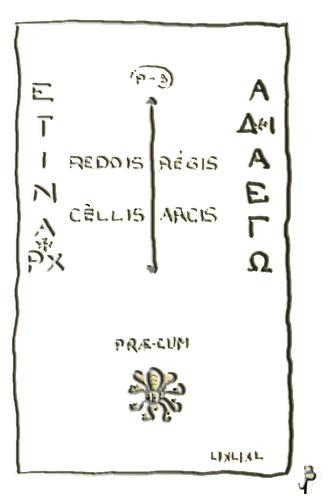 """La Pierre tombale de la Marquise de Blanchefort, telle quelle fut présentée dans le livres de Gérard de Sède """"Le Trésor Maudit de Rennes-Le-Château"""""""