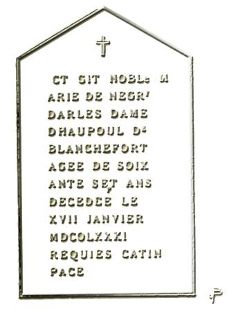 """La Stèle tombale de la Marquise de Blanchefort, telle quelle fut présentée dans le livres de Gérard de Sède """"Le Trésor Maudit de Rennes-Le-Château"""""""