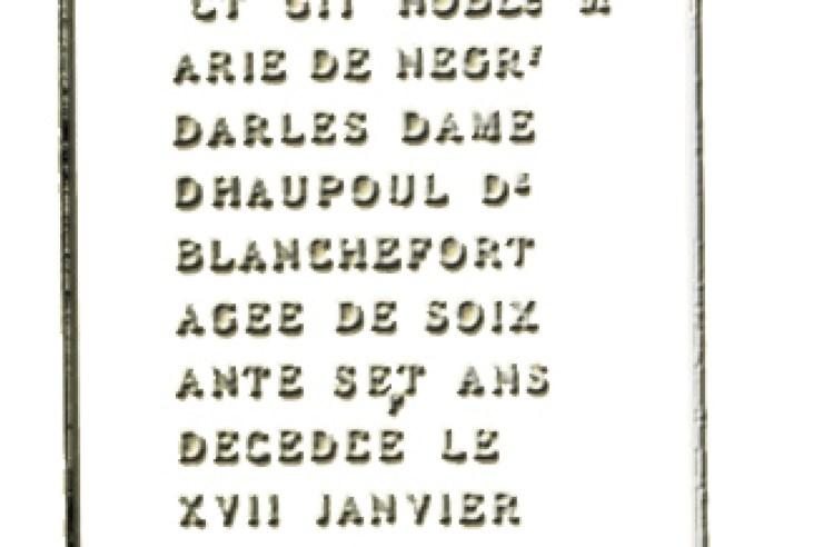 La stèle de la tombe de Marie de Nègres d'Able de Rennes-Le-Château