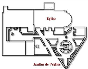Plan des jardins de l'église de Rennes-Le-Château