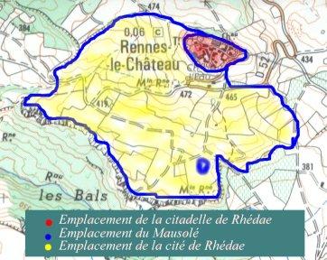 Implantation de Rhédae avec la citadelle et la ville basse