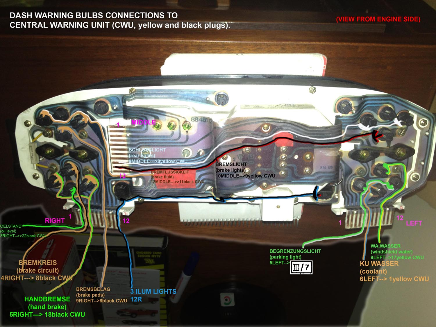 porsche 944 wiring diagrams v8043e1012 diagram instrument cluster and central warning unit with color wires - rennlist discussion forums