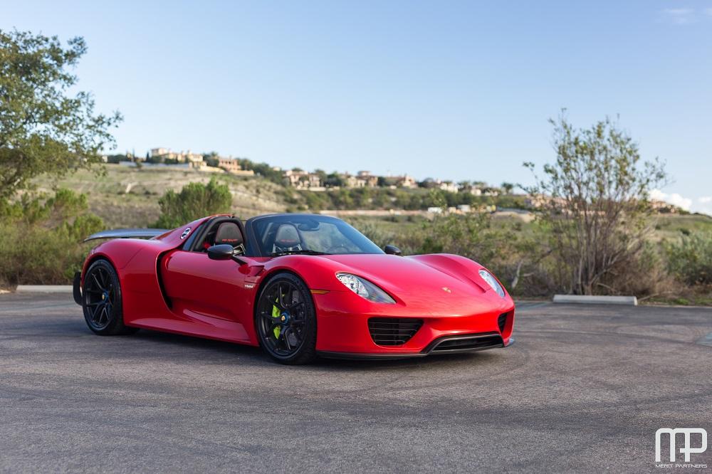 Ultra Rare Red Porsche 918 Weissach Surfaces For Sale
