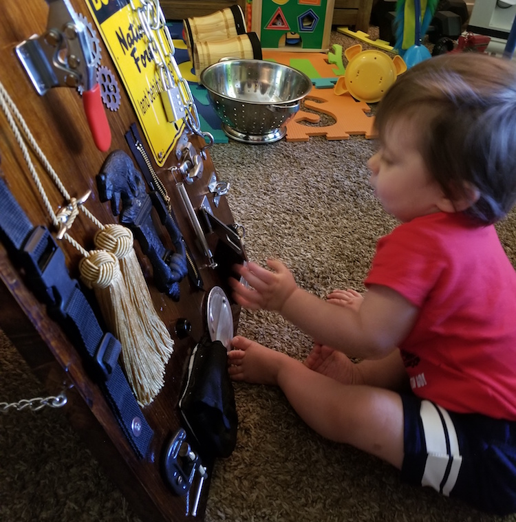 busy board gets inspected by my son