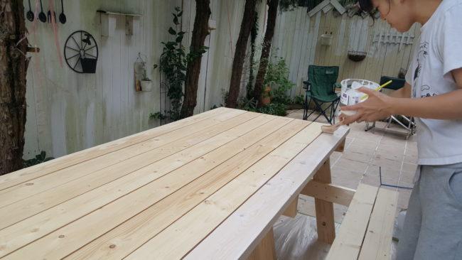 撥水塗料 ガーデンテーブル