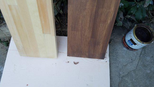 集成板 ウォールナット 塗装前、塗装後