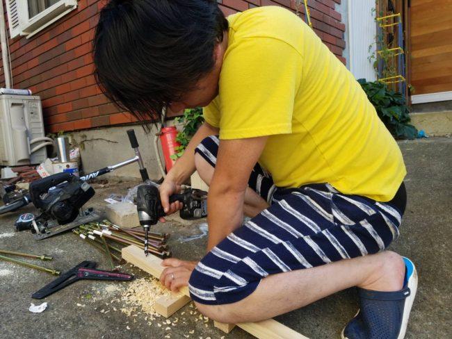 キャンプ 棚 DIY 施工中