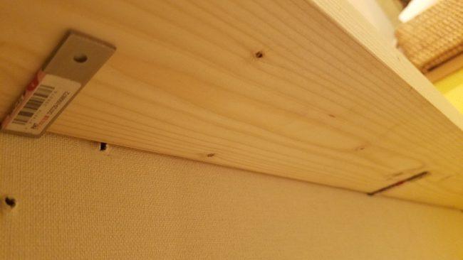 Lアングルに棚を固定 DIY