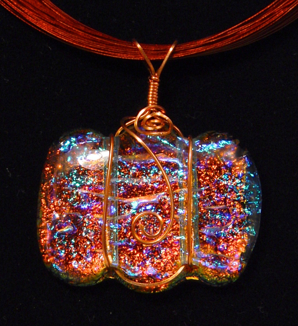 Kathleen Hallamore-Best Fused Dichroic Glass Pendant with Copper