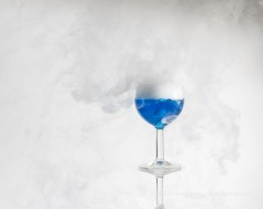 Blue Food Colouring and Dry Ice - Side flash off camera with trigger